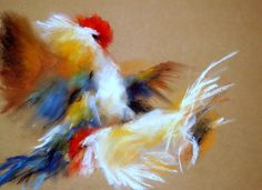 Cock-fight . Kakasviadal . Pastel, paper 35 x 50 cm