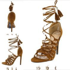 Coming soon! Tan scrappy lace up beautiful heels Dress to impress in these nice tassel upper heel. Man made materials 4 1/2 inch heel. 2 available in the listed size. Shoes Heels