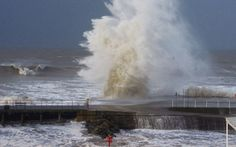 Maureen Stringer, a student at Aberystwyth University, took this photo of waves hitting Aberystwyth promenade