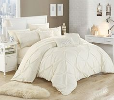 Chic Home 10 Piece Hannah Pinch Pleated ruffled and pleated complete Queen Bed In a Bag Comforter Set Beige With sheet set >>> You can find more details by visiting the image link.
