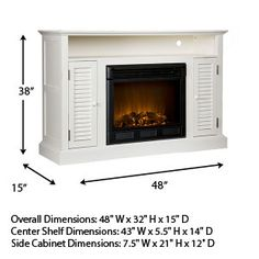 Holly & Martin Savannah Antique White Electric Fireplace Media Package 37-218-084-6-40