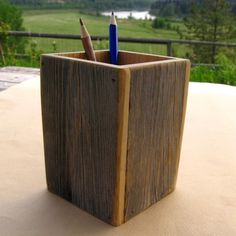 Rustic Wooden Pencil HOLDER from reclaimed by ParadiseHillDesigns, $24.00