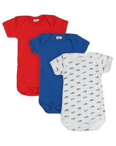 Kurzarm-Body GAEL 3er-Pack in weiß/blau/rot