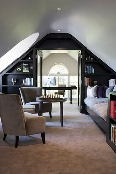 5 Persevering Clever Tips: Attic Conversion Office attic house staircases.Attic Diy Built In Bed attic house staircases. Attic Office, Attic Playroom, Attic Rooms, Attic Spaces, Attic Bathroom, Attic Library, Garage Attic, Attic House, Attic Closet