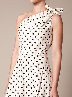 Carolina Herrera Cotton Bow Shoulder Dress