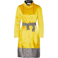 Valentino Roma Belted satin coat ($603) ❤ liked on Polyvore featuring outerwear, coats, yellow, satin coat, valentino coat, belted coat and yellow coat