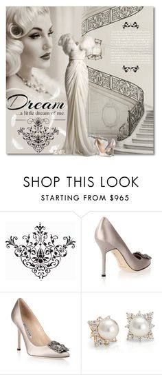 """Dream Of Me"" by petri5 ❤ liked on Polyvore featuring Kayu, Love Quotes Scarves, Manolo Blahnik, Blue Nile and vintage"