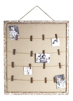 Interesting idea - put burlap or other fabric behind the string/twine/rope. Office Decorator - Wood Frame Photo Peg Board