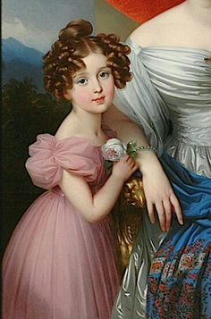 Girl in pink dress, 1830s