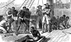 The history of British slave ownership has been buried and concealed, but it is there...  A print shows African captives being taken on board a slave ship.