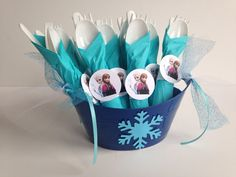 Frozen Birthday Party Cutlery wrapped utensils by AlishaKayDesigns