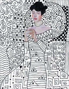 "Gustav Klimt made elaborately patterned paintings, as in ""Adele Bloch-Bauer's Portrait."" One way for students the appreciate Klimt is through this pattern art lesson. Gustav Klimt, Art Klimt, Middle School Art, Art School, Projects For Kids, Art Projects, Collage Kunst, Student Picture, Ecole Art"