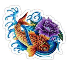 Vivid Koi by Aarron Laidig Tattoo Flash Art Sticker