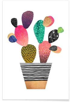 Happy Cactus als Premium Poster von Elisabeth Fredriksson | JUNIQE
