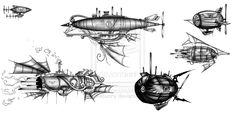 Steampunk Airship dirigible tattoo design