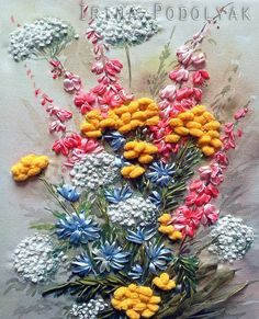 Image result for silk ribbon embroidery queen anne's lace embroidery