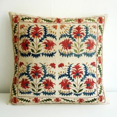 Embroidered Suzani Pillow -- Anatolian and Middle Eastern Patterns Textiles, Textile Patterns, Print Patterns, Cute Cushions, Crochet Cushions, Textile Fiber Art, Home Textile, 20x20 Pillow Covers, Cushion Covers