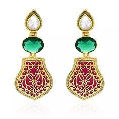 Gold Plated Thewa Enamel Earrings