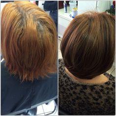Antes e depois! Correção da cor com mechas em slice marrom e cobre!