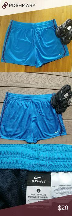 Nike Dri-Fit Shorts NWOT Nike Dri-Fit Shorts. Blue Mesh with Royal Blue and Gray Side Stripes. Nike Shorts