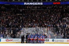 NEW YORK, NY - MAY 29:  The New York Rangers celebrate defeating the Montreal Canadiens 1-0 in Game Six of the Eastern Conference Final during the 2014 NHL Stanley Cup Playoffs at Madison Square Garden on May 29, 2014 in New York City. (Photo by Scott Levy