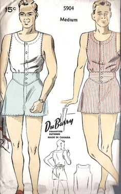 1930s Mens Under Shirt and Shorts, Vintage Sewing Pattern, DuBarry 5904 Awesome!