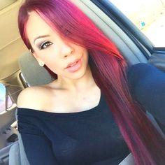 Black And Burgundy Hair, Purple Hair, Ombre Hair, Red Hair, Purple Lilac, Straight Hairstyles, Braided Hairstyles, Cool Hairstyles, Rose Hair Color