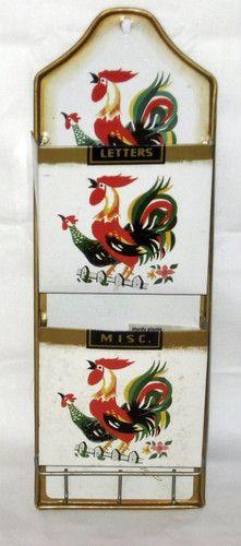 Vintage METAL Organizer Kitchen Wall Mount Letter Misc. Key Holder Retro ROOSTER