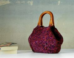 Knitting Tote, women fashion Fall fashion color, knit purse, shades burgundy, orange, fuchsia - gifts idea autumn Bag