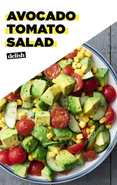 Avocado Tomato Salad is like guac's fancy older sister. #avocado #hummus #fresh #tamatillo #salsa #verde #avocadotoast #avocadorecipes #avocadosalad #avocadodip
