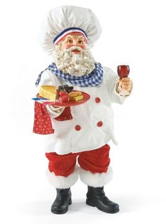 - French Santa--Sometime Santa wants something other than milk and cookies for a snack. Here he carries a plate of French nibbles and a glass of his favorite bordeaux. Luxury Christmas Tree, All Things Christmas, Vintage Christmas, Vintage Santa Claus, Vintage Santas, Father Christmas, Christmas Holidays, Santa Wish List, Merry Christmas Card
