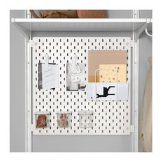 IKEA - SKÅDIS, Connector for ALGOT, white, Makes it possible for you to attach SKÅDIS pegboard to ALGOT storage system, a simple and quick way to create a customised and complete storage solution. Ikea Algot, Wall Shelving Units, Wall Storage, Storage Spaces, Record Storage, Ikea Kids Room, Bedroom Decor On A Budget, Pallet Tv Stands, Ikea Home