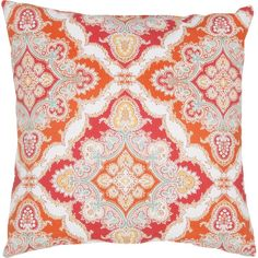 Freshen up your patio or sunroom seating group with this delightful pillow, featuring a paisley medallion print in red.Product: P...