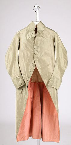 Coat (Frock Coat)  Date: ca. 1790 Culture: French Medium: silk, linen Dimensions: Length: 45 in. (114.3 cm) Credit Line: Isabel Shults Fund, 1986 Accession Number: 1986.181.2