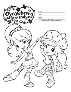 Strawberry Shortcake Printables Coloring Pages Black