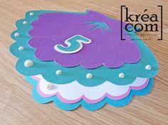 invitation sirène 5 ans anniversaire Margot coquillage violet bleu vert