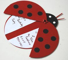 invitation.. make a pink and green ladybug and full circle inside with printed info