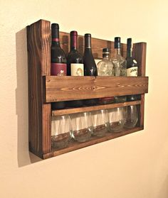 Wine Rack with Wine Glass Storage - Rustic Alcohol Holder - Wood Bottle Rack - Farmhouse Decor - Apartment Decor - Bar Furniture
