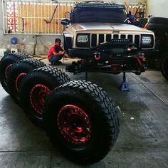 @kikorodriguez71hotmailcom workin' on his #XJ  www.instajeepthing.com  #BlackMambaOffroadHeadlights #jeep #cherokee #jeeplife #itsajeepthing