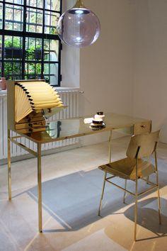 Brass desk by Nika Zupanc at Spazio Rossana Orlandi in Milan /// More on Interiorator.com