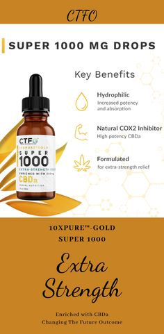"There are a lot of products that promote Extra-Strength Relief that just don't work, and the side effects can't be good for you.  At CTFO, we have formulated, tested and launched what we call ""Natures Miracle"".  10xPURE™-GOLD SUPER 1000mg is specially formulated for EXTRA-STRENGTH RELIEF.  CTFO delivers the future of CBD botanical science…today.  Our patented 10xPURE™ oil process is enriched with CBDa and includes a proprietary blend of full spectrum cannabinoids.   Click to read more! Botanical Science, Science Today, Nature's Miracle, Health Benefits, Oil Benefits, Health Tips For Women, Anxiety Help, Health Quotes, Wellness Tips"
