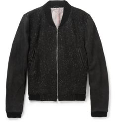 fab27674e78 Thom Browne Full Grain Nubuck and Donegal Wool Bomber Jacket   MR PORTER  Designer Bomber Jacket