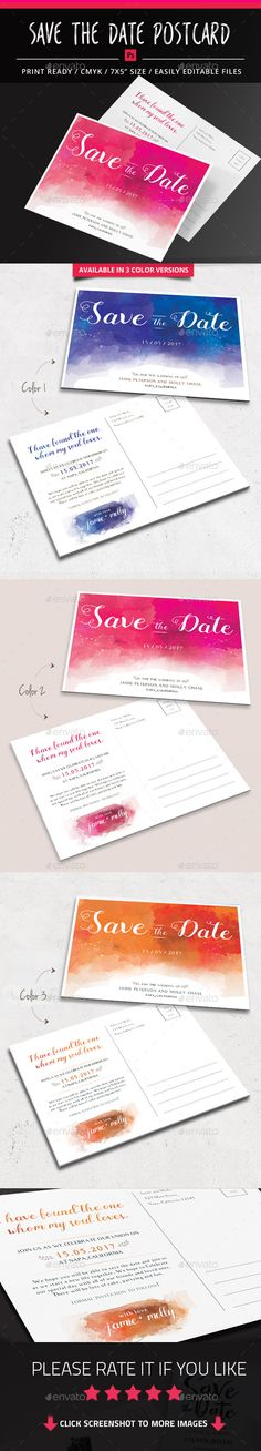 Buy Watercolor Save the Date Postcard by pallabip on GraphicRiver. The watercolor Save The Date Postcard includes 3 color version, layered . Just change the text, save as a . Wedding Invitation Card Design, Simple Wedding Invitations, Printable Wedding Invitations, Invites, Postcard Template, Save The Date Postcards, Graphic Design Print, Dating, Templates