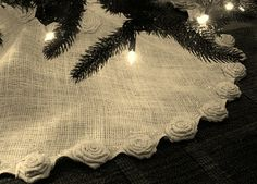 Natural Burlap Christmas Tree Skirt - like the burlap idea but wouldn't have the roses