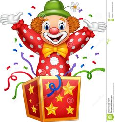 Photo about Illustration of Cartoon clown jumping out of the box. Illustration of holiday, greeting, cartoon - 89034191 Cartoon Cartoon, Cartoon Drawings, Clown Crafts, Circus Crafts, First Birthday Cards, Birthday Greeting Cards, Art Drawings For Kids, Drawing For Kids, Clown Images