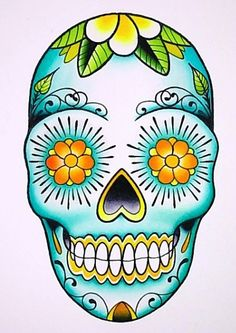 Sugar skull tattoo Love the teal shading Sugar Scull, Sugar Skull Art, Sugar Skull Painting, Body Painting, Mexican Skull Art, Caveira Mexicana Tattoo, Totenkopf Tattoos, Estilo Rock, Skull Artwork