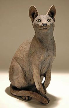 Clay Cat Sculpture by Nick Mackman