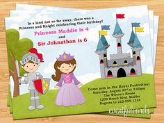 Princess and Knight Birthday Party Invitation by eventfulcards, $14.99