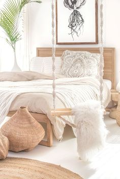Our beautiful indoor outdoor Juba Swing and Strand Bed in French Oak ➳ covered in soft linen ➳ also featuring our Fair Trade Bulawayo Garlic Gourd Basket ♡😌 Styling & Photography Minimalist Bedroom, Modern Bedroom, Contemporary Bedroom, Bedroom Classic, Bedroom Rustic, Modern Contemporary, Bedroom Sets, Home Decor Bedroom, Master Bedroom