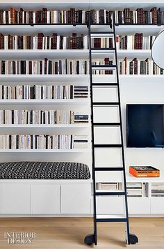 61 Trendy Home Library Interior Design Ladder Interior Design Magazine, Home Library Design, Modern Library, House Design, Library Ladder, Library Wall, Reading Library, Dream Library, Decoracion Vintage Chic
